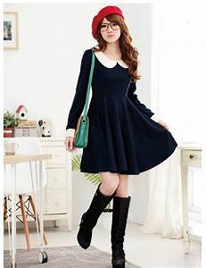 japanese style students collar big size dress k1012725 ...