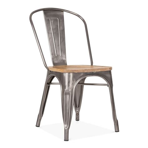 chaise style industriel gunmetal side chair with elm wood seat cult furniture