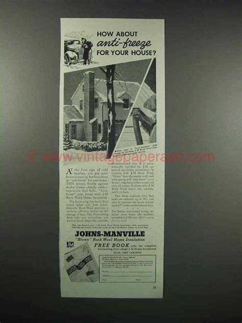 johns manville rock wool home insulation ad anti freeze