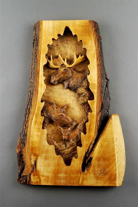 moose family  wood wood carving  bark hand  gift