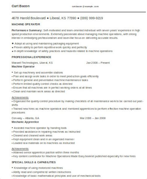 sle machine operator resume 6 exles in word pdf