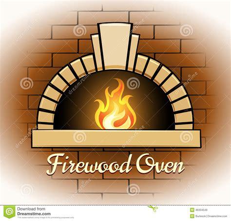 cuisine brique bois logo ou insigne de four de bois de chauffage illustration