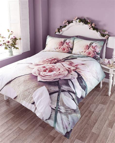 Vintage Rose Photo Print Duvet Quilt Cover Bedding Set