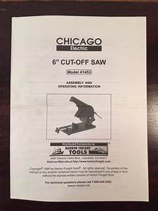 Chicago Electric 6 U0026quot  Cut Off Saw 41453 Assembly Operating