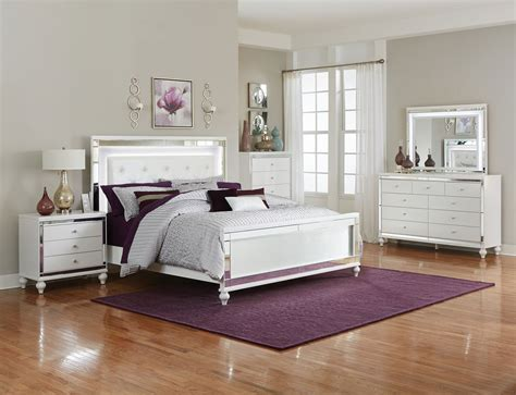 alonza white bedroom set  led lighting las vegas