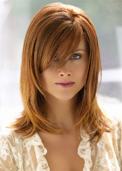 medium length hairstyles with side swept bangs and layers