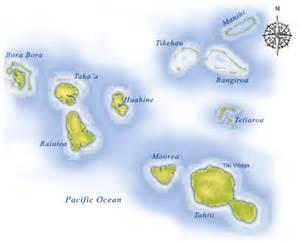 Bora Bora and Fiji Islands Map