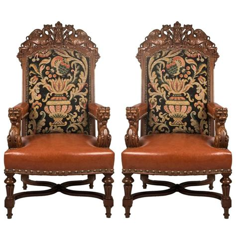 pair of 19th century louis xiv style fauteuil walnut