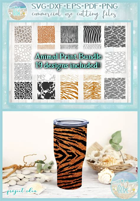 Includes the following formats in color: Animal Print Bundle SVG Dxf Eps Pdf PNG Files for Cricut ...