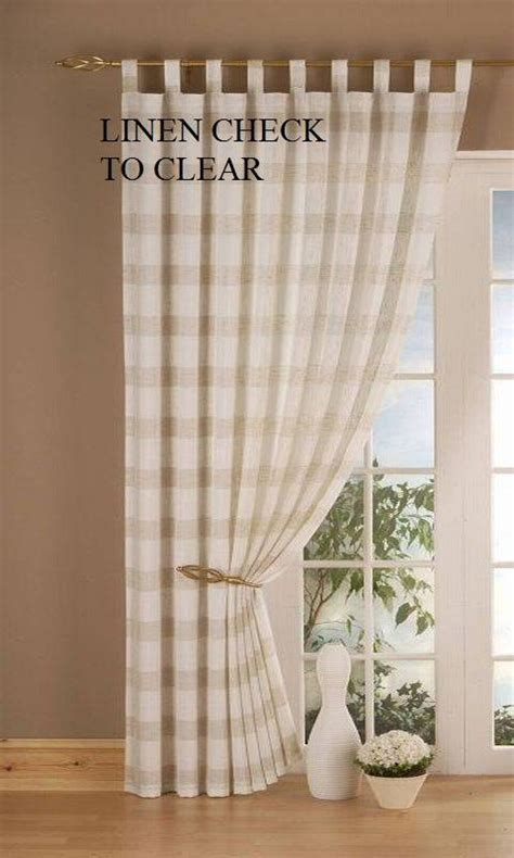 linen check tab top panels clearance net curtain 2