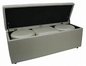 Bout De Lit Blanc : bout de lit coffre 3 poufs blanc aspect soie mobilier ~ Teatrodelosmanantiales.com Idées de Décoration