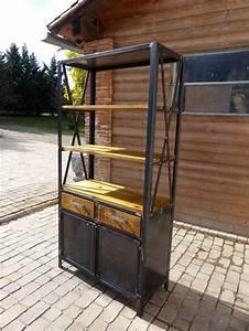 Bibliothèque Bois Et Métal : cr ation meuble fabrication sur mesure meuble bois m tal industriel tendance ~ Teatrodelosmanantiales.com Idées de Décoration