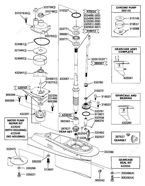 Evinrude 48 Spl Diagram by Evinrude 1989 48 E48eslcer Gearcase Parts Catalog