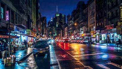 Night Street York Chinatown Usa Rainy Manhattan