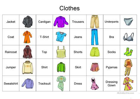 clothes vocabulary worksheet free esl printable