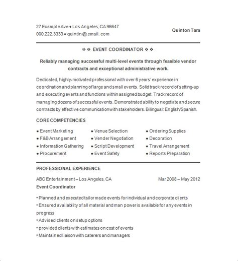 Event Coordinator Resume by 10 Event Planner Resume Templates Doc Pdf Free