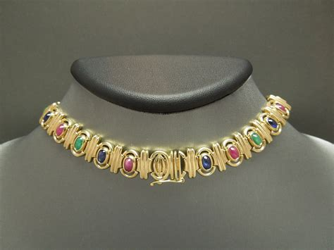 Egyptian Gold 19tcw Precious Gemstone Necklace And Bracelet Set