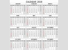 2019 Calendar Word Task Management Template Worksheet