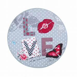 tapis rond multicolore d 90 cm love maisons du monde With tapis rond fille