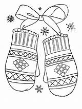 Coloring Mittens Winter Gift Lovely Years Pages Colored sketch template