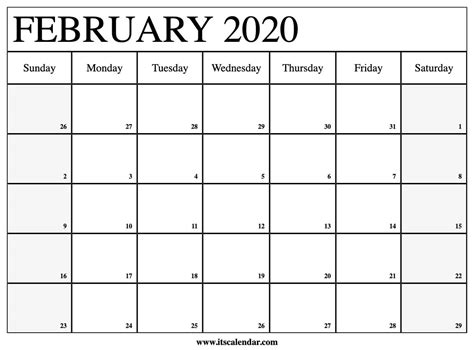 Free printable year 2021 calendar with holidays. Free Printable February 2020 Calendar