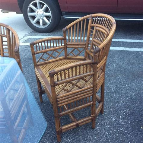 brighton pavillion rattan dining set game table chinese chippendale  chairs  sale  stdibs