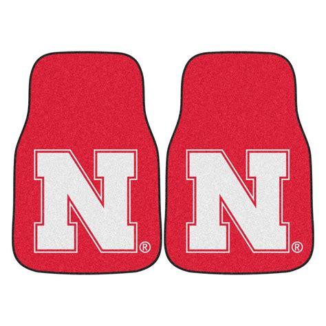 fanmats of nebraska 18 in x 27 in 2 carpeted car mat set 5466 the home depot