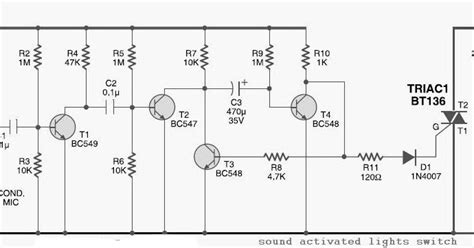 Sound Activated Lights Circuit Diagram