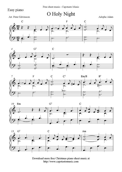 Songs books easy downloadable printable classical popular christmas beginners keyboard jazz contemporary miscellaneous acc. Free easy Christmas piano sheet music, O Holy Night