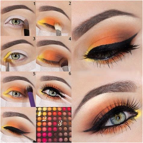 yellow  orange eye makeup tutorial
