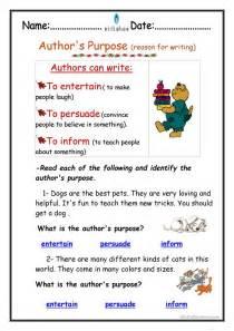 Authors Purpose Printable Worksheets