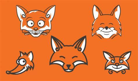 Cartoon Fox Heads In Orange Vector