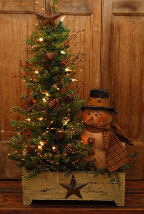 pictures of primitive christmas trees large handmade primitive snowman doll lighted winter tree wood box folk wood boxes folk
