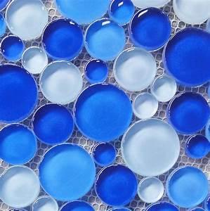 Aqua, Bubble, Round, Blue, Glass, Mosaic, Tile, Blue, Glass, Mosaic, Blue, Mosaic, Tiles, View, Round, Blue