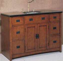 48 inch wide mission style single sink vanity in spice oak finish contemporary bathroom