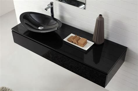 nero wall hung black vanity with top basin