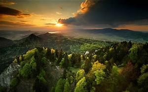 Nature, Landscape, Spring, Sunset, Forest, Sky, Mountains