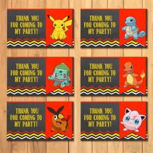 Printable Pokemon Birthday Party Tags