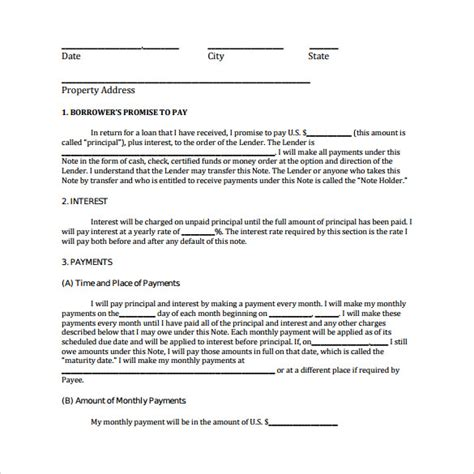 free promissory note template word promissory note template 10 free documents in word pdf