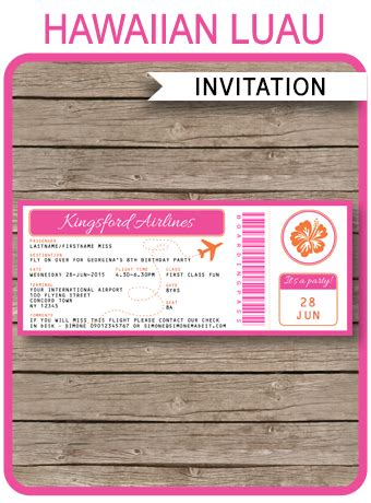 luau boarding pass invitations template birthday party