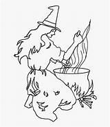 Coloring Transparent Pngitem Cauldron Witch Halloween sketch template