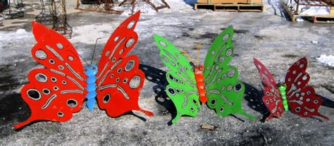 tin butterfly folk wall decor in 3 sizes