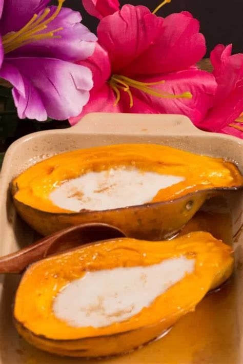 Marshallese Baked Papaya with Coconut Cream