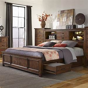 Intercon Wolf Creek King Bookcase Bed With Storage Rails