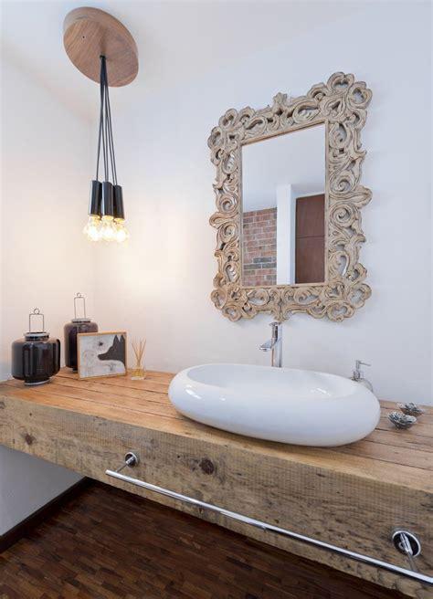 natural elegant bathroom design  antique wood carving