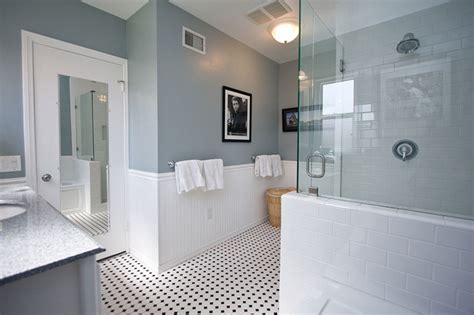 traditional black and white tile bathroom remodel