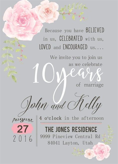 custom watercolor flower  year anniversary invitation