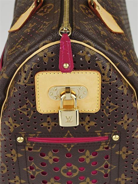 louis vuitton limited edition fuchsia monogram perforated speedy  bag yoogis closet