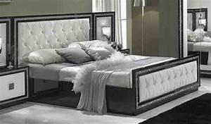 Lit Chez But : lit capitonne krystel laque bicolore noir blanc ~ Teatrodelosmanantiales.com Idées de Décoration
