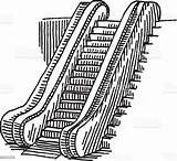Escalator Drawing Coloring Illustration Vector Istock Getcolorings Graphic sketch template